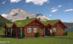 3D Exterior Perspective Render Cottage Faroe Island
