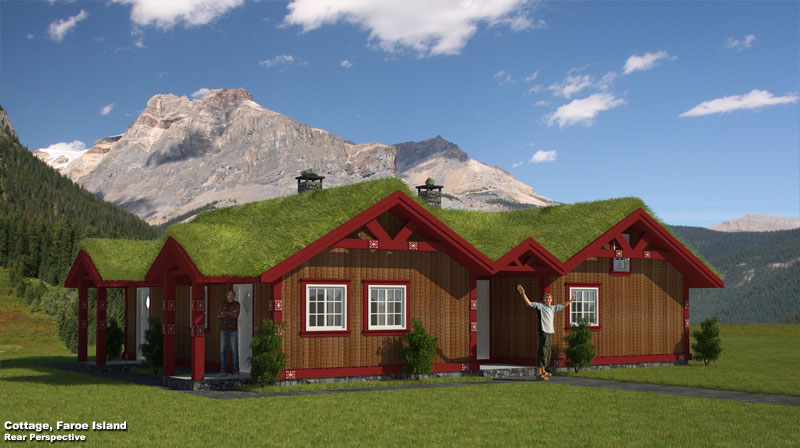 3D Exterior Perspective Rendering Cottage Faroe Isles