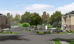 3D Exterior Perspective Render Residential Development USA