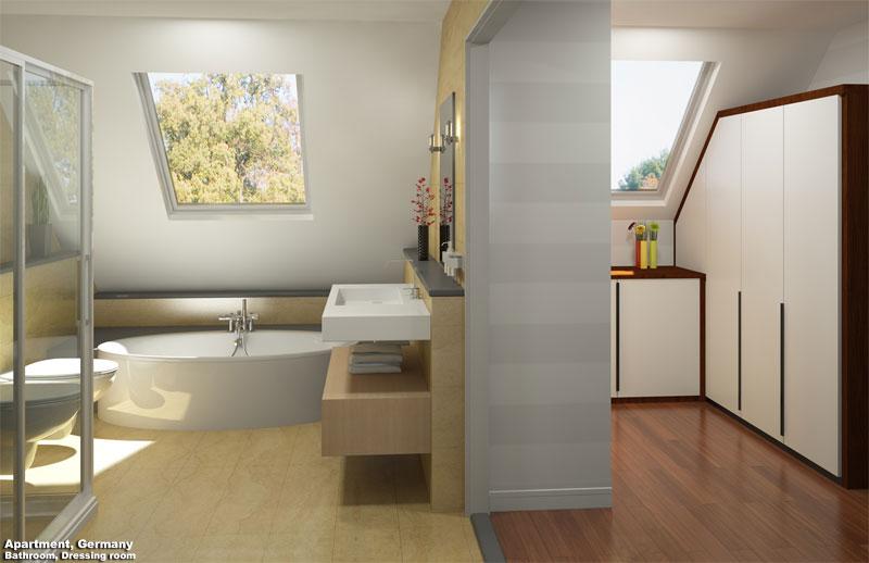 3D Interior Visualization Bathroom and Dressing Room Render