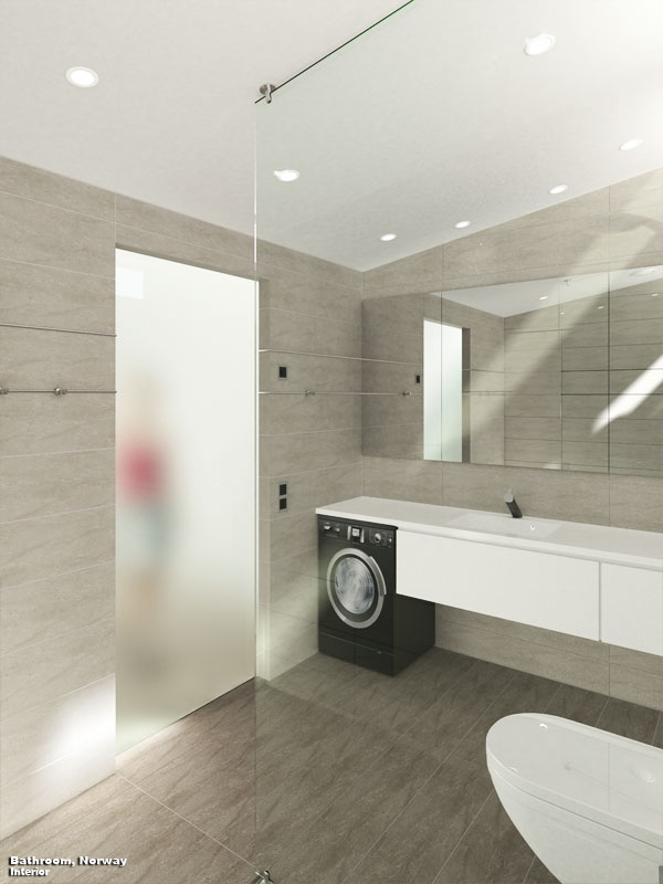 3D Interior Visualization Norway Bathroom Perspective