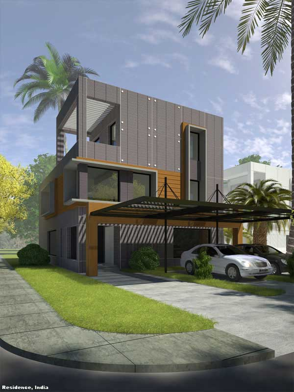 3D Perspective Render Visualization Residence India Chennai