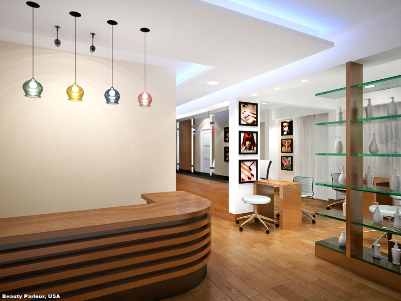3D Photo Realistic Interior Render Beauty Parlor USA