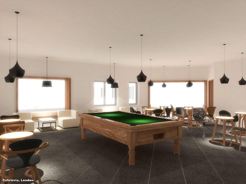 3D Photo Realistic Interior Rendition Cafeteria London