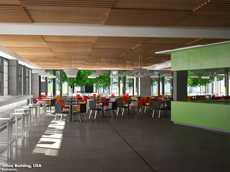 3D Photo Realistic Interior Visualization Cafetaria USA