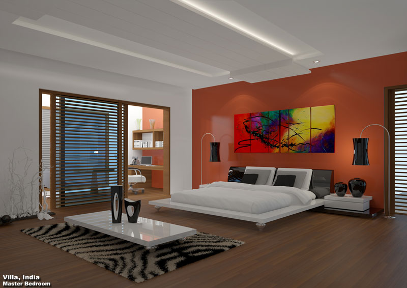 3D Photo Realistic Interior Visualization Master Bedroom India