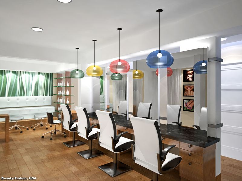 3D Realistic Interior Rendering Beauty Parlor USA