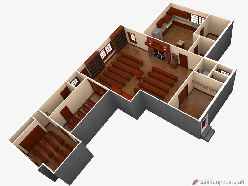 3D PhotoRealistic Render Synagogue Floor Plan USA
