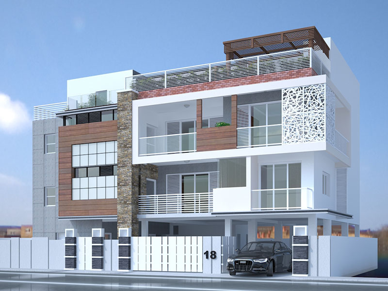 3D Exterior Visusalization of a Luxury Apartment - Chennai
