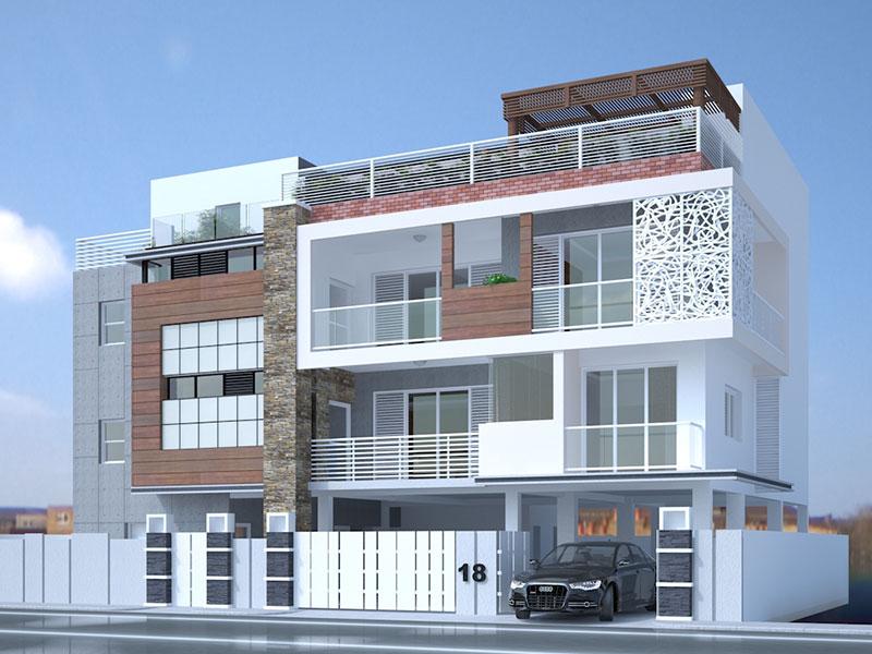 3D Exterior Visusalization of a Luxury Apartment - Chennai