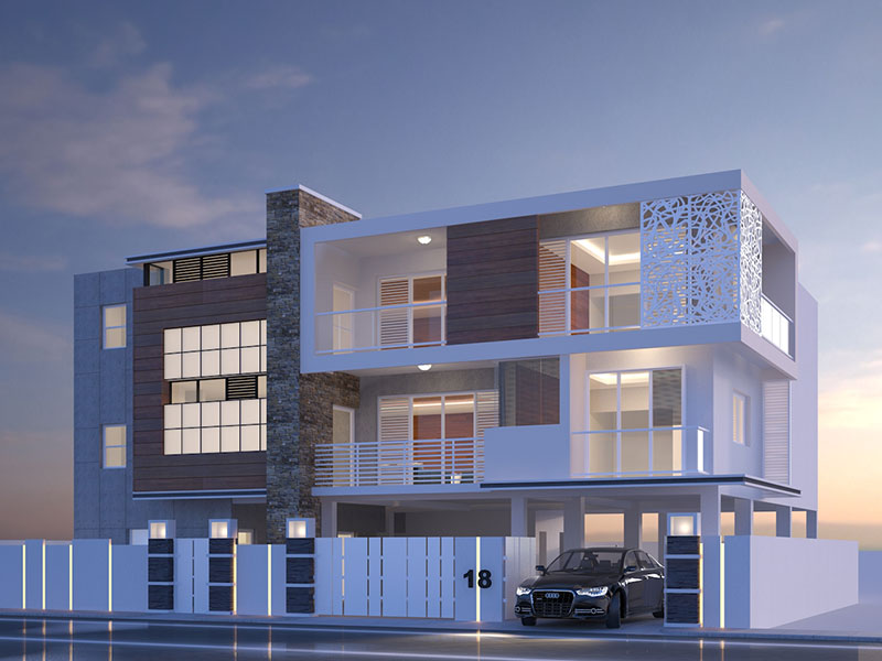 Exterior Visualization of a Luxury Apartment Chennai