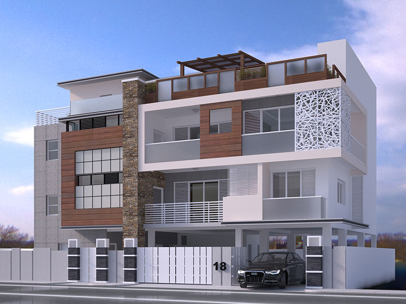 3d exterior visualization of a luxury apartment chennai