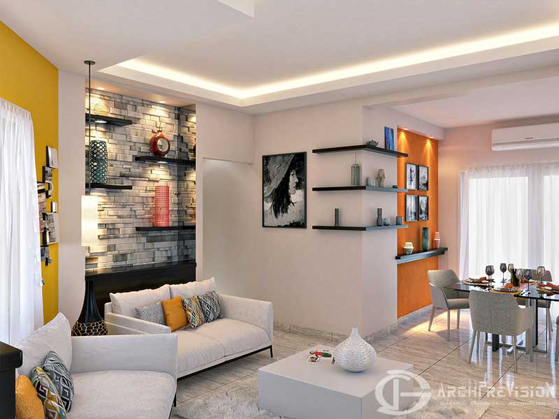 Apartment 3D Photo Realistic Living Dining Rendering