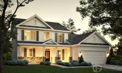 Dusk Time Craftsman Style Residential Exterior Rendering