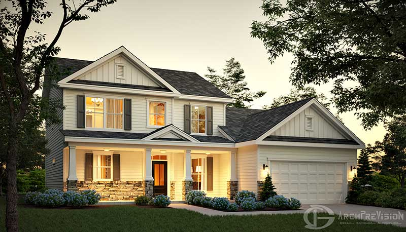 Day Dusk Craftsman Style Residential Exterior Render